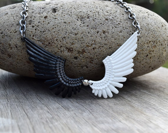 Black and White Angle Wings Necklace, Good Omens Fan Gift, Good and Evil,Demon Wings, Yin Yang, Black and White Contrast Statement Necklace