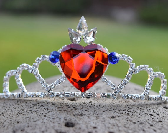 Evie's Formal Tiara, Queen of Hearts Crown, Descendants Fan, Silver Red Heart Blue Rhinestones, End of Movie Costume Cosplay, Adult Child