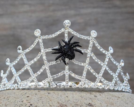 Spider Tiara, Spider Web Crown, Silver Rhinestone Black Widow Headband, Cob Web Halloween Jewelry, Spider Woman Costume, Spider Queen Tiara