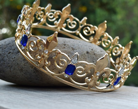 Audrey Crown, Descendants 3 Cosplay Costume Tiara, Realistic Gold Metal and Blue Glass Rhinestones, Men's Boy's King's Crown,