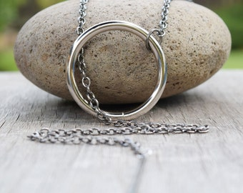 Sansa Large Circle and Chain Necklace, Heavy Duty Cosplay Necklace, All Metal Sansa Ring Needle Costume Necklace, Stark Large Circle Lariat
