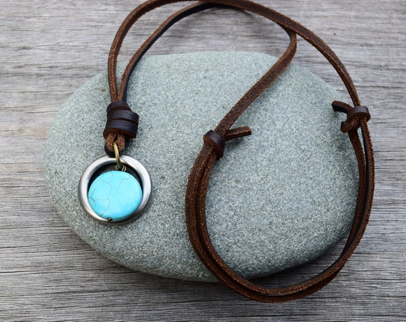 Men's Leather Turquoise Howlite Stone Necklace, Adjustable, Gunmetal O Ring, Gift for Him / Husband / Boyfriend, Mixed Metals w Blue Stone