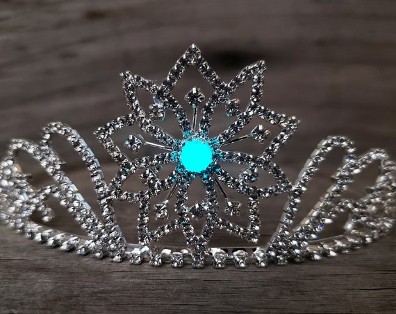 Ice Queen Tiara, Elsa Costume Crown, Silver Frozen Snowflake Glass Rhinestone Tiara, Winter Wedding, Glow in the Dark Option, Snow Queen