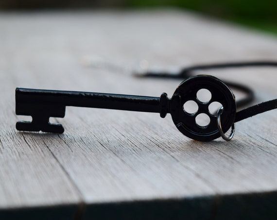 Coraline Key Necklace or Choker, Metal Black Button Skeleton Key Chain, Key Ring, Keychain, Other Mother Cosplay Costume Prop Passkey