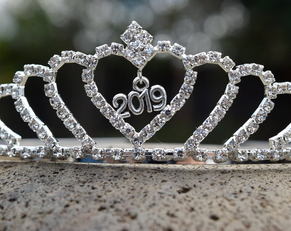Graduation Tiara, 2019 Tiara, Class of 2019 Crown, Prom Tiara, New Years 2020 Crown, Rhinestone Crystal Grad Night Crown, Graduation Party