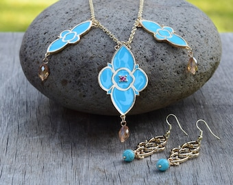 Jasmine Aladdin Earrings & Necklace, 2019 Live Action Movie Reproduction, Blue Gold India Dangle Earrings, Jasmin Cosplay Costume Set