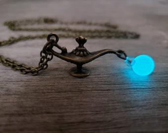 Aladdin's Magic Lamp Necklace, Glow in the Dark Genie Lamp, Unique Glowing Aladdin Gift for Fan, Aladdin Costume, Keychain Key Ring Option