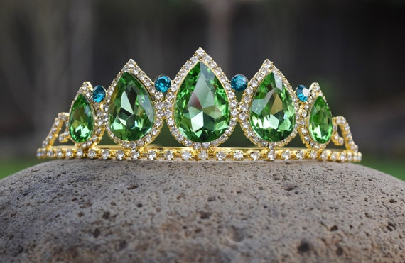 Queen Anna Crown, Green Teardrop Rhinestone and Gold Tiara, Princess and the Frog Tiana, Tinkerbell Costume Cosplay, Glow in the Dark Gift