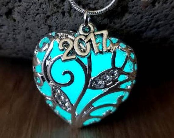 Graduation Year Necklace, Class of 2019, Birthday, 16th, 18th, 21st, 30th, 40th, 50th, 60th Anniversary Gift, Glow in Dark Heart, Sweet 16