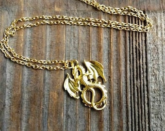 Mals Gold Dragon Necklace Mal Costume Jewelry Gold or Bronze Descendants Inspired Dragon Necklace Maleficent Necklace Dragon Jewelry