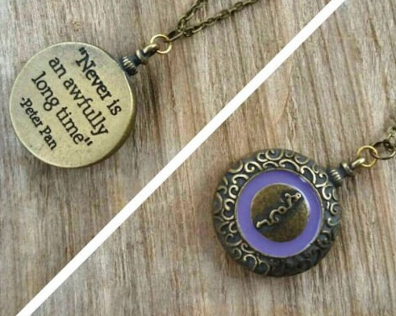"SALE Peter Pan Quote Necklace, ""Never is an Awfully Long Time,"" Peter Pan Jewelry, Peter Pan Clock, Big Ben, Two Sided Necklace, Neverland"