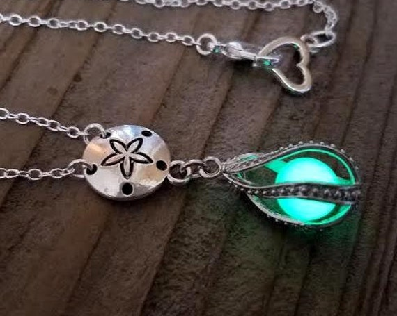 Glowing Mermaid Tears, Glow in the Dark Sand Dollar Necklace, Glowing Necklace, Tear Drop Necklace, Beach Nautical Jewelry, Mermaid Necklace