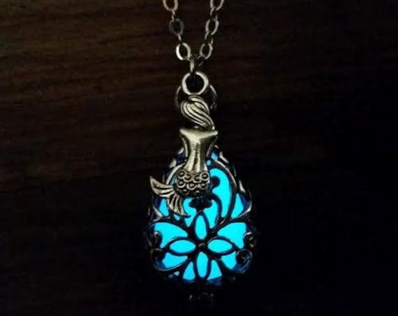 Glow in the Dark Mermaid Tears Necklace, Glowing Tear Drop, Mermaid Locket, Silver Mermaid Necklace, Mermaid Jewellery, Mermaid Cosplay