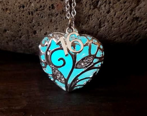 Birthday Year Necklace, Class of 2019, Graduation, 16th, 18th, 21st, 30th, 40th, 50th, 60th Anniversary Gift, Glow in Dark Heart, Sweet 16