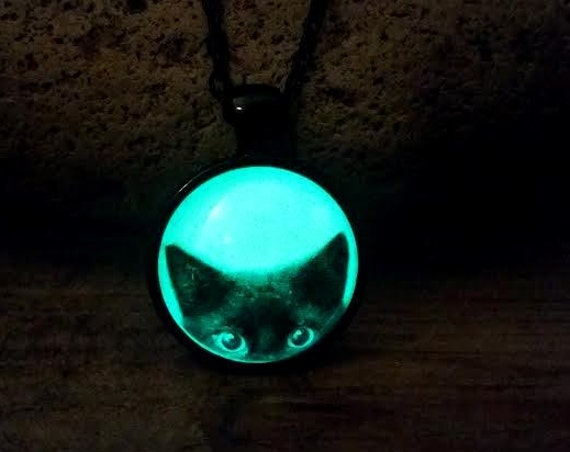 Glow Black Cat Necklace,  Halloween Necklace, Glow in the Dark Cat, Glowing Cat Eyes Necklace, Cat Lover Gift, Cat Jewelry Halloween Jewelry