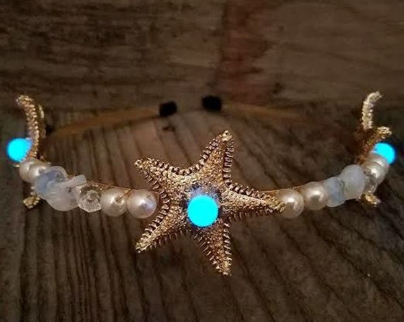 Glow Mermaid Crown Headband, Glow in the Dark Starfish, Mermaid Tiara, Beach Wedding, Festival Crown Headgear, Rave Glowing Beach Head Piece