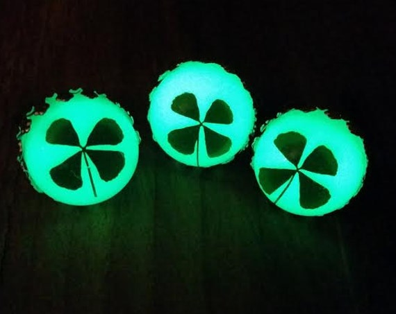 Glowing Four Leaf Clover Ring, Glow in the Dark Saint Patrick's Day Ring, Adjustable St Paddy's Irish Ring, Green 4 Leaf Clover Jewellery