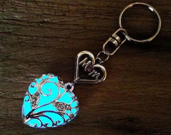 Mothers Day Gift Keychain, Blue Mom Glow in the Dark Heart Key Chain, Gift for Mom, Valentine's Day Gift for Mom, Glowing Heart Key Ring