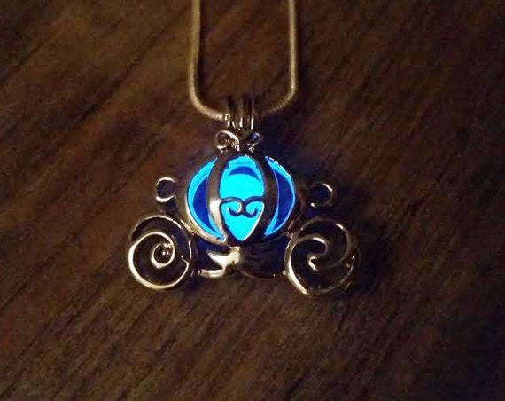 Glowing Cinderella Necklace, Blue Glow in the Dark Cinderella Carriage Necklace, Cinderella Pumpkin Carriage, Glowing Stagecoach Necklace