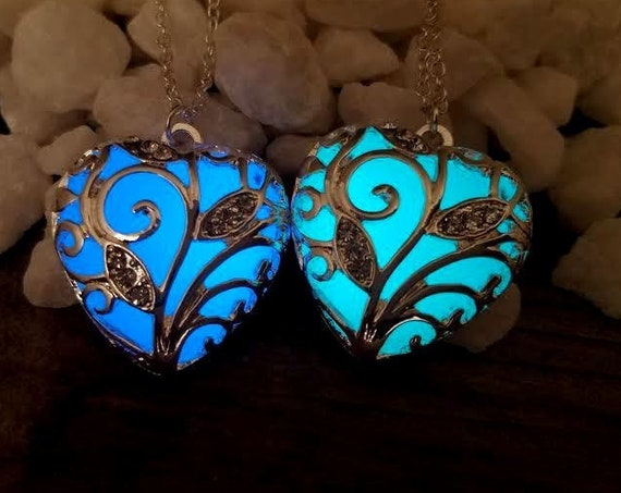 Glow Heart Necklace, Anna's Frozen Heart, Glow in the Dark Heart, Aqua Glowing Necklace, Anniversary Gift for Her, Valentine's Day Gift