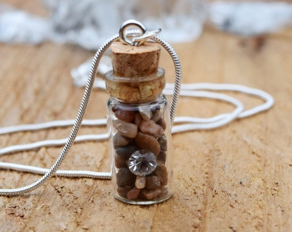 Diamond in the Rough Necklace, Aladdin Necklace, April Birthstone, Mini Bottle, Wishing Bottle, Glass Bottle, Natural Stones with Rhinestone