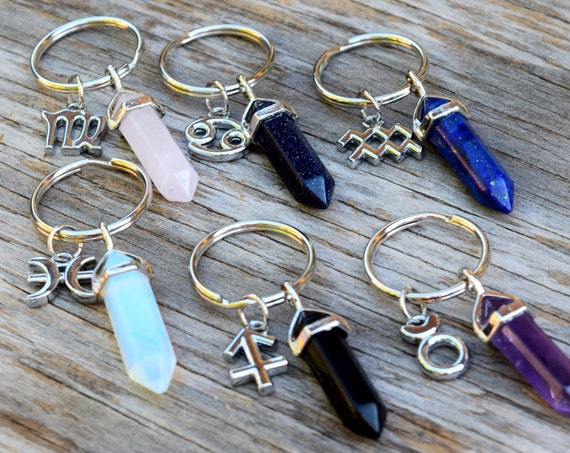 Crystal Keychain, Zodiac Keychain, August Birthday Gift, Boho Key Chain, Rose Quartz Key Ring, Amethyst, Opalite, Virgo Crystal Point Wand
