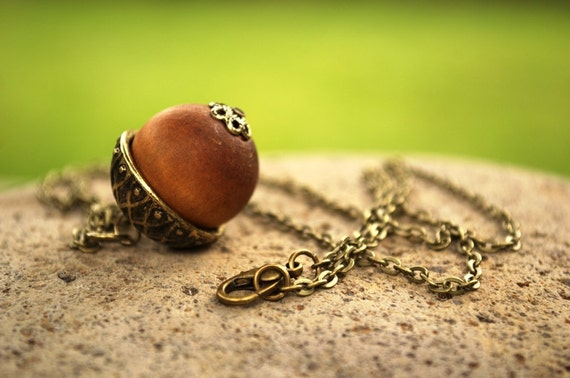 Acorn Necklace, Peter Pan Necklace, Wood Acorn Necklace, Fall Necklace, Peter's Kiss Necklace, Autumn Nut Pinecone Jewelry, Wooden Jewelry