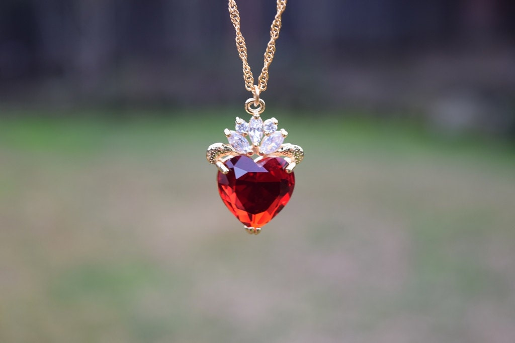 Evie Luxe Gold Necklace Red Heart Necklace July Birthday