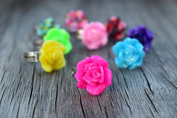 Children's Glitter Flower Ring, Solid Red Rose, Pink, Blue, Purple, Gift for Little Girl, Kids Jewelry, Small Sized Ring for Flower Girl