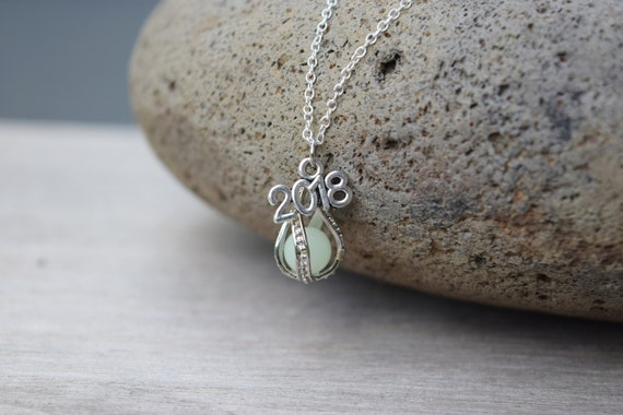 Glows! Graduation Gift 2018 Necklace, Glow in the Dark Drop, Class of 2018 Mermaid Tear, Dragon Egg Glowing Necklace, Birthday Year Necklace