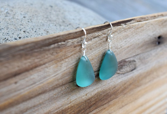 Teal Seaglass Earrings, Mermaid Earrings, Beach Glass, Blue Tumbled Glass, Bridesmaid Beach Wedding, Silver w/ Blue Sea Glass, Ocean Wedding