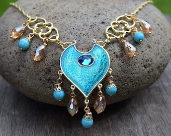 Jasmine Aladdin Necklace, 2019 Movie Reproduction, Blue Teal Green Gold Princess Necklace, Jasmin Cosplay Costume, Adult or Child Sizes