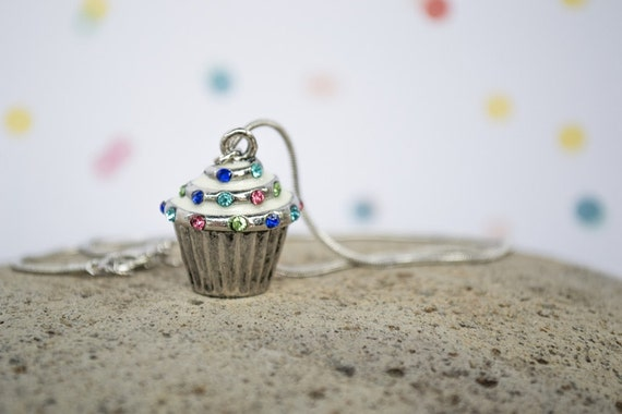 SALE Cupcake Necklace, Child Sizes Available, Birthday Necklace, Birthday Girl Photo Prop, Birthday Jewelry, Cupcake Charm, Crystal Cupcake