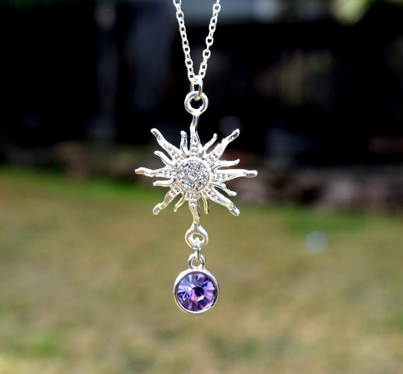 Sparkling Rapunzel Necklace, Rhinestone Rapunzel Fairy Tale Necklace, Purple Sun Flower, Rapunzel Costume Necklace, Purple Princess Necklace