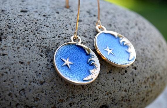 Celestial Moon Face Earrings, Navy Blue Gold Tone Crescent Moon Earrings with Star, Spiritual Jewelry, V Shape Ear Wire, Long Moon Earrings