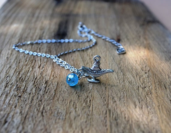 Genie's Magic Lamp Necklace, Aladdin Necklace, Aladdin Lamp, Aladin Costume, Genie Costume, Blue and Silver Necklace, Fairytale Necklace