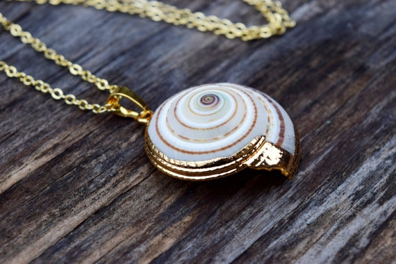 Ursula Necklace, Real Sea Shell Necklace, Ariel Voice Seashell Necklace, Gold Dipped Sea Shell, Real Cone Shell Necklace, Ursula Costume