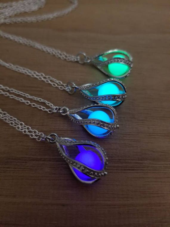 Dragon Egg Glow Necklace, Glow in the Dark Tear Drop, Mermaid Tears, Glowing Necklace, Personalize w/ Birthday Year, Graduation, Unique Gift