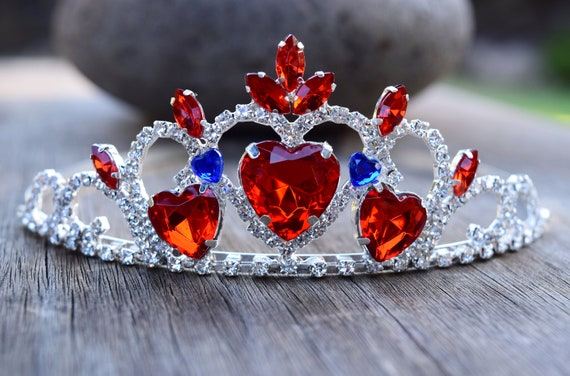 Evie Crown, Queen of Hearts Tiara, Descendants 3 Costume, Silver 3 Large Red Hearts and 2 Blue, Evie Formal Gown, Valentines, Adult / Child