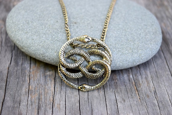 NeverEnding Story Antique Gold Necklace,  Auryn Necklace, Long or Choker, Never Ending Story Snake Pendant, Snake Circle, Men's Necklace