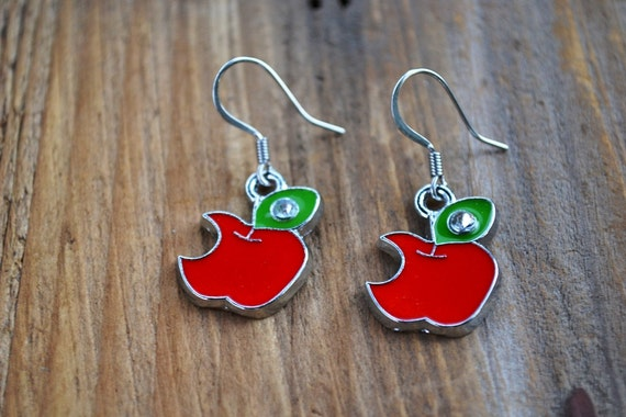 Red Apple Bite Earrings, Snow White Apple, Teacher Gift, Descendants, Once Upon a Time Fairy Tale Earrings, Bite Mark, Back to School Gift
