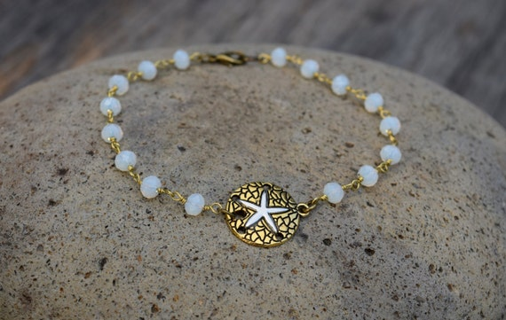 Beach Anklet, Sand Dollar and Moonstone Glass Bead Ankle Bracelet, Sea Cookie Anklet, Two Tone Body Jewelry, Blue Gold, Festival Beach Wear
