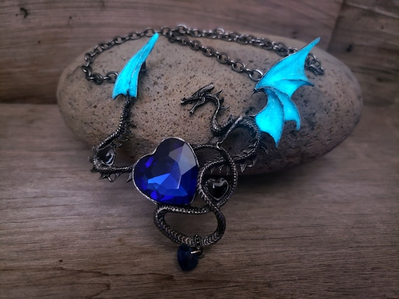 XL Dragon Heart Necklace, Large Glow in the Dark Dragon Wings Necklace, Gun Metal Blue Rhinestone,  Mal Costume, Gift for Dragon Lover