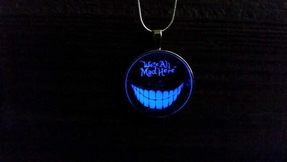 Cat Quote Pendant Glow Black Alice in Wonderland Necklace