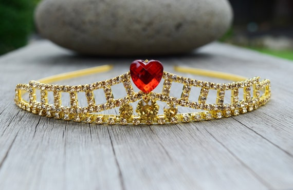 Personalized Evie Tiara, Queen of Hearts Crown, Descendants Costume, Gold Tiara w/ Read Heart, Champagne Rhinestone Headband, Adult or Child