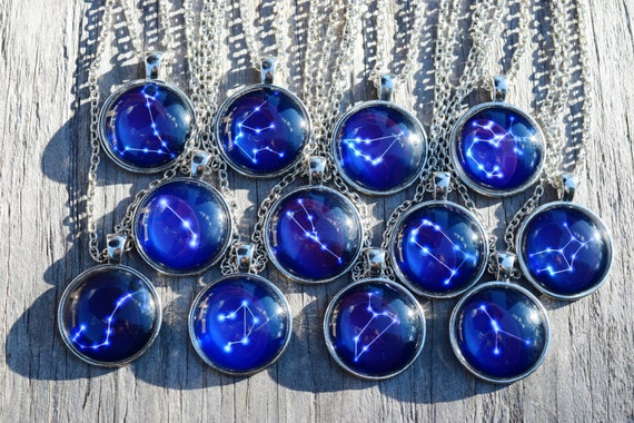 Zodiac Constellation Necklaces, Glass Horoscope Blue Star Sign, Birthday Gift, Necklace or Keychain, Leo Scorpio Sagittarius Constellation