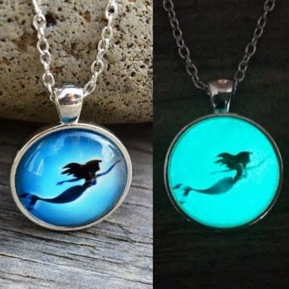 Glowing Mermaid Swimming Necklace, Glow in the Dark Mermaid Necklace, Little Mermaid Pendant on Bronze Chain, Mermaid Gift, Glowing Necklace