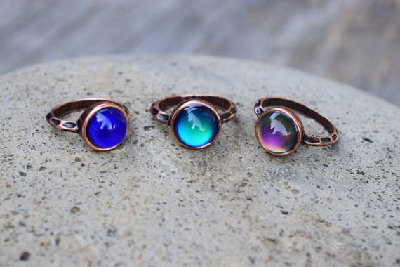 Mood Ring, Copper Mood Ring, Round Circle Glass Mood Ring, Temperature Color Changing Ring, Retro, Spiritual Ring, Gift for Her Mom Pre Teen