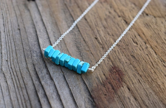 Turquoise Horizontal Bar Necklace, Minimalist Bohemian, Silver Turquoise Howlite Stone Necklace, Boho Spring Necklace, Geometric Rectangle
