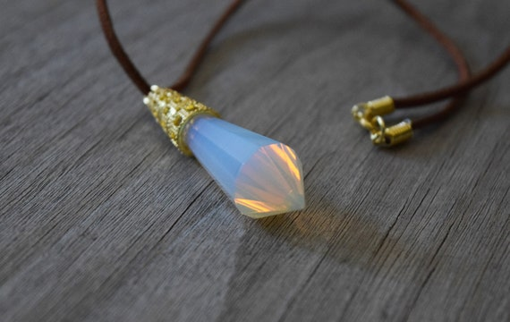 Kida Luxe Atlantean Crystal Necklace, Atlantis Necklace, Moonstone Opalite Crystal on Brown Faux Leather, Princess Kida Cosplay, Lost Empire